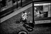 Guitar Player on Red Line